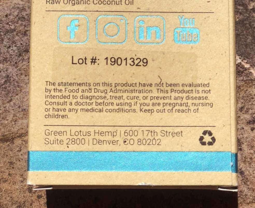 Green Lotus Hemp Packaging Lot Number